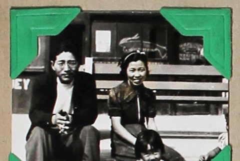 Tokeo Tagami and others in front of a restaurant (ddr-densho-404-343)