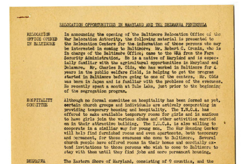 Relocation Opportunities in Maryland and the Delmarva Peninsula (ddr-csujad-19-29)