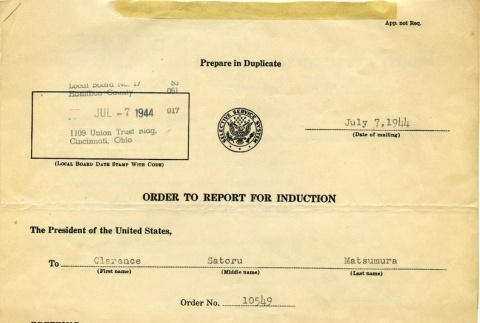 Order to report for induction (ddr-densho-22-90)