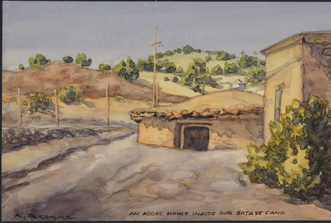 Painting of an adobe house (ddr-manz-2-32)