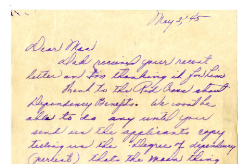 Letter from Seiichi Okine to Masao Okine, May 3, 1945 (ddr-csujad-5-79)
