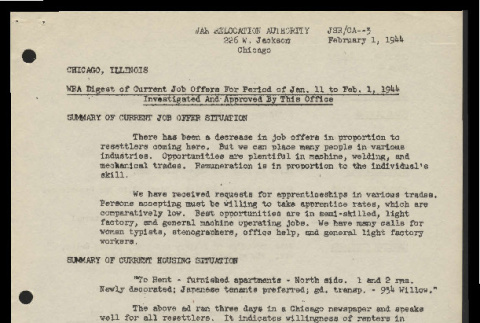 WRA digest of current job offers for period of Jan. 11 to Feb. 1, 1944, Chicago, Illinois (ddr-csujad-55-813)