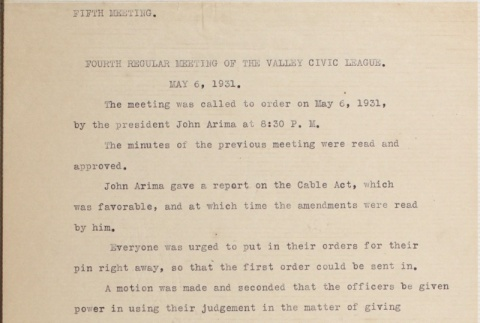 Minutes of the fourth Valley Civic League meeting (ddr-densho-277-9)