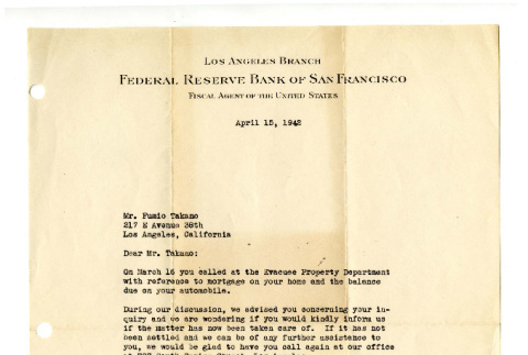 Letter from Fred C. Bold, Assistant Manager, Los Angeles Branch, Federal Reserve Bank of San Francisco, to Mr. Fumio Takano, April 15, 1942 (ddr-csujad-42-87)