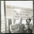 Photograph of Bea White and son, with Lucille Bouche and Elizabeth Moxley at the closing of Manzanar (ddr-csujad-47-326)