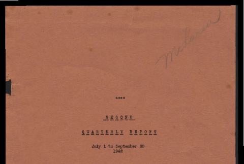 Second quarterly report, July 1 to September 30, 1942 (ddr-csujad-55-1653)
