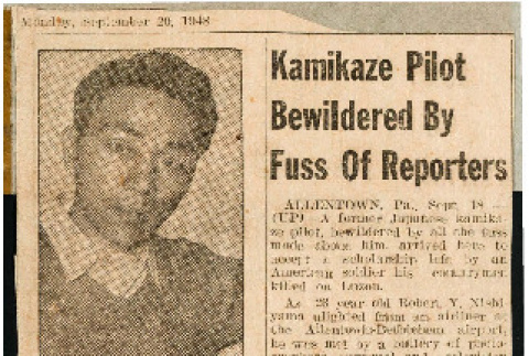 What he was fighting for; Kamikaze pilot bewildered by fuss of reporters (ddr-csujad-49-26)