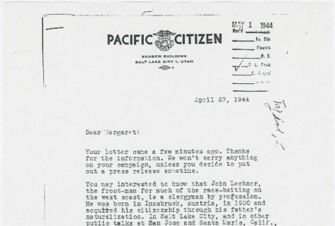 Letter from Larry Tajiri to Margaret Anderson, editor of Common Ground (ddr-densho-338-449)