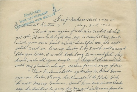 Letter from Issei man to wife (August 21, 1942) (ddr-densho-140-118)