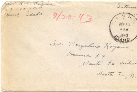 Envelope and letter to Dr. Dr. Keizaburo