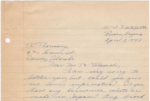 Letter sent to T.K. Pharmacy from Gila River concentration camp (ddr-densho-319-272)