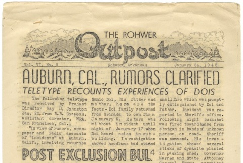 Rohwer Outpost: Vol. 6, No. 9 (January 24, 1945) (ddr-janm-6-1)