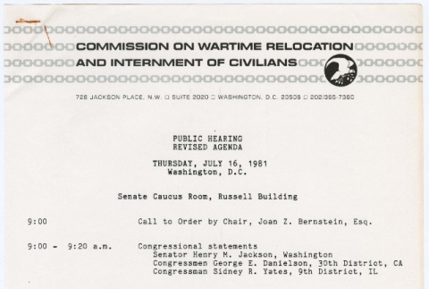 Agenda for Hearings of the Commission on Wartime Relocation and Internment of Civilians (CWRIC) (ddr-densho-122-265)