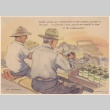 Painting of two men working with guayule cuttings (ddr-manz-2-10)