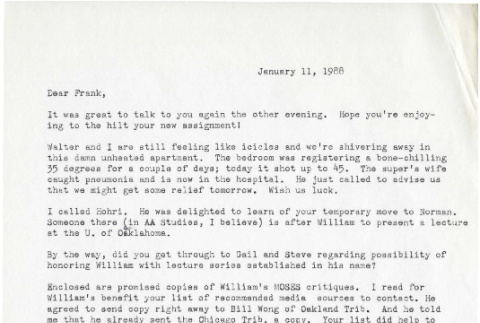 Letter from Michi Weglyn to Frank Chin, January 11, 1988 (ddr-csujad-24-37)