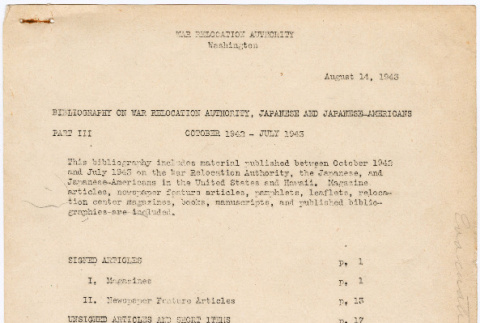 Bibliography on War Relocation Authority, Japanese, and Japanese-Americans (ddr-densho-381-20)