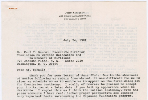 Statement by John J. McCloy to Commission on Wartime Relocation and Internment of Civilians (CWRIC) (ddr-densho-122-274)