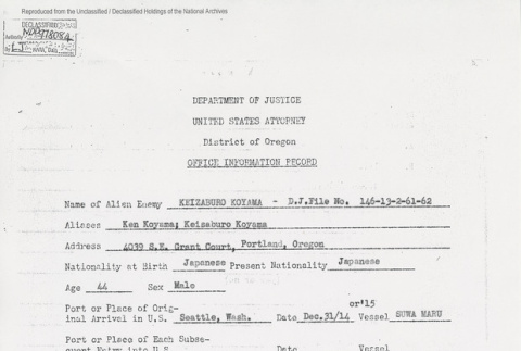 Department of Justice United States Attorney District of Oregon Office Information Record. Page 1 of 2. (ddr-one-5-173)
