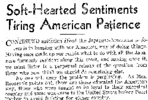 Soft-Hearted Sentiments Tiring Americans Patience (May 13, 1943) (ddr-densho-56-915)