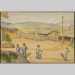Painting of the mess hall line (ddr-manz-2-18)