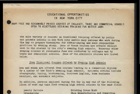 Educational opportunities in New York City (ddr-csujad-55-805)