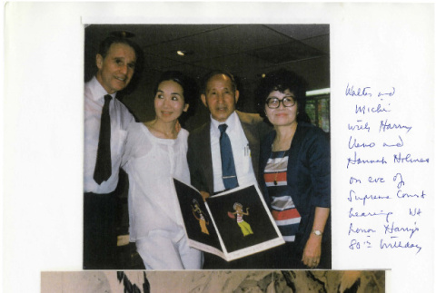 Walter and Michi with Harry Ueno and Hannah Holmes on eve of Supreme Court hearing we honor Harry's 80th birthday (ddr-csujad-24-30)