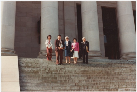 On the steps of the State Capitol building for the signing of the Washington State Redress Bill (ddr-densho-10-159)