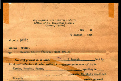 Orders from Headquarters 24th Infantry Division, Office of Commanding General to Masako Adachi, August 9, 1947 (ddr-csujad-55-2235)