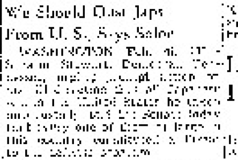 We Should Oust Japs From U.S., Says Solon (February 26, 1942) (ddr-densho-56-650)