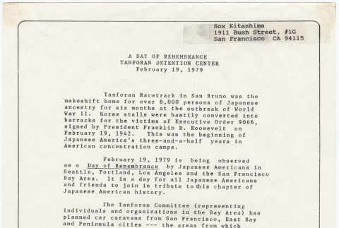 Program for the Tanforan Detention Center Day of Remembrance event (February 19, 1979) (ddr-janm-4-20)