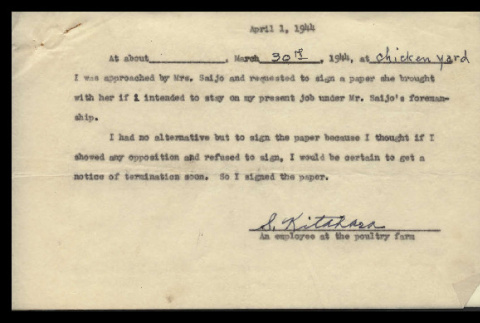 Affidavits from Heart Mountain poultry farm employees, April 1, 1944 (ddr-csujad-55-923)