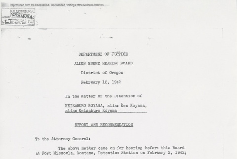 Department of Justice Alien Enemy Hearing Board Report and Recommendation page 1 of 4 (ddr-one-5-153)