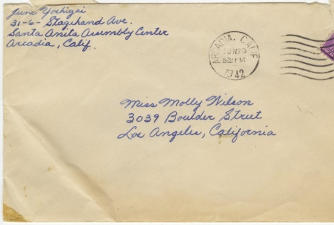 Letter (with envelope) to Molly Wilson from June Yoshigai (June 26, 1942) (ddr-janm-1-85)