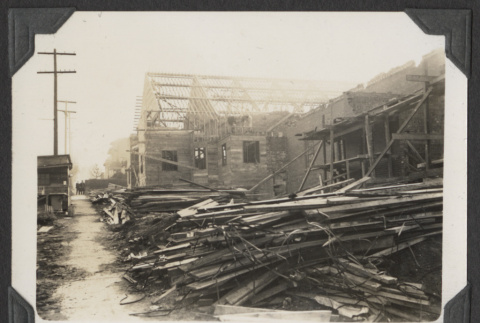 Piles of lumber at the temple construction site (ddr-sbbt-4-97)