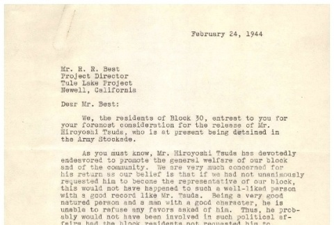 Letter from residents of Block 30 to Ramond Best, Director of Tule Lake Camp, February 24, 1944 (ddr-csujad-2-6)