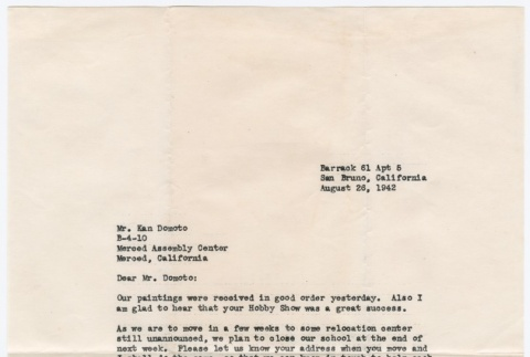 Letter to Ken Domoto from Chiura Obata conforming painting delivery and pending transfer to new camp (ddr-densho-329-130)