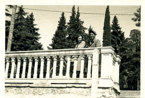 Soldier and woman on a balcony (ddr-densho-22-243)