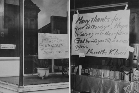 Fronts of two businesses owned by Japanese Americans forced to close after issuance of Executive Order 9066 (ddr-csujad-7-3)