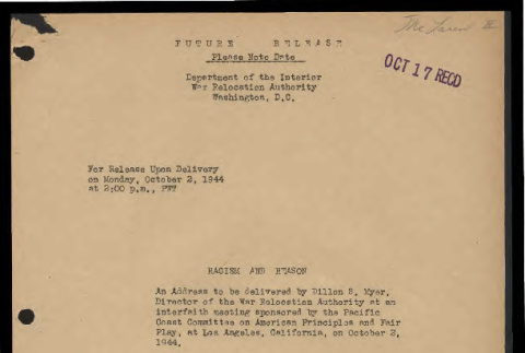 Racism and reason: an address to be delivered by Dillion S. Myer, Director of the War Relocation Authority (ddr-csujad-55-1646)