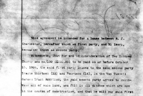 Agreement to lease land (ddr-densho-25-92)