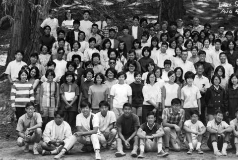 Group photograph of the Lake Sequoia Retreat campers, 1967 (ddr-densho-336-130)