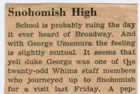 Broadway High vs. Snohomish High pep ralley article (ddr-densho-280-55)