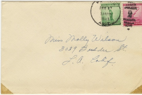 Letter (with envelope) to Molly Wilson from Mary Murakami (February 26, 1943) (ddr-janm-1-33)