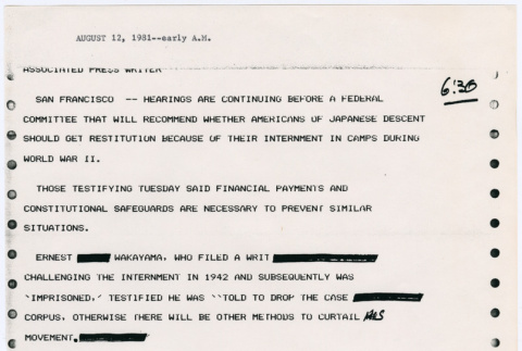 Wire Copy reports from San Francisco hearings of Commission on Wartime Relocation and Internment of Civilians (CWRIC) (ddr-densho-122-280)