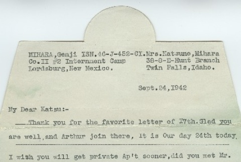 Letter from Issei man to wife (September 24, 1942) (ddr-densho-140-135)