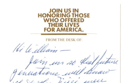 Note attached to 100th/442nd/MIS World War II Memorial Foundation letter (ddr-densho-368-256)
