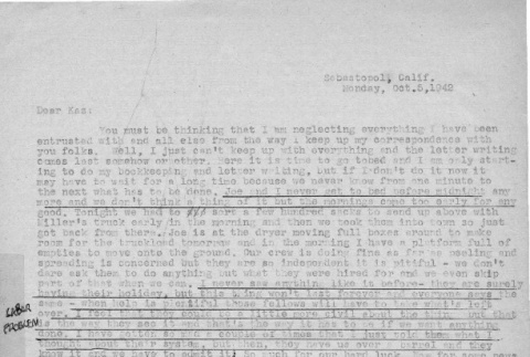 Letter from Lea Perry to Kazuo Ito, October 5, 1942 (ddr-csujad-56-18)