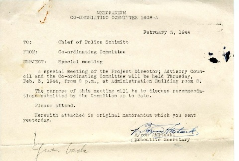 Memo from Co-ordinating Committee to Chief of Police Schmidt [Willard E. Schmidt], February 3, 1944 (ddr-csujad-2-72)