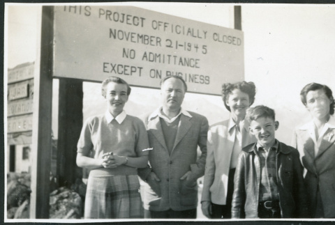 Photograph of Bea White and son, with Lucille Bouche and Elizabeth Moxley at the closing of Manzanar (ddr-csujad-47-327)