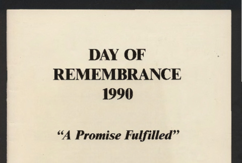 Day of remembrance 1990: a promise fulfilled (ddr-csujad-55-2691)